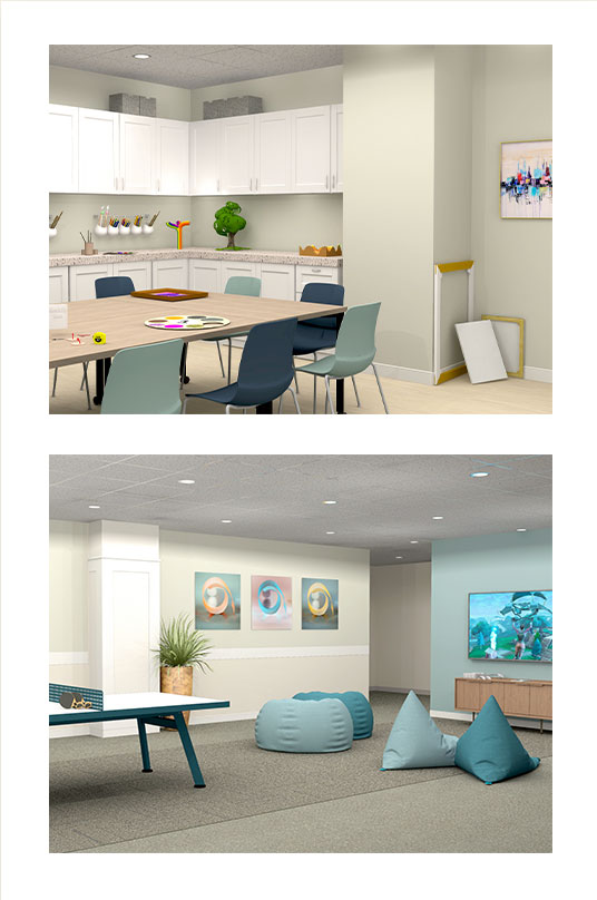 An image showing some of the amenities at Weston Bridges including an activity room and ping pong table